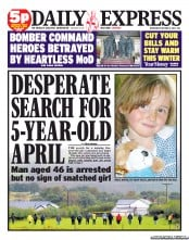 Daily Express Newspaper Front Page (UK) for 3 October 2012
