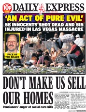 Daily Express (UK) Newspaper Front Page for 3 October 2017