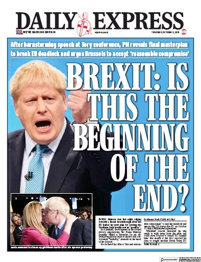 Daily Express Newspaper Front Page (UK) for 3 October 2019
