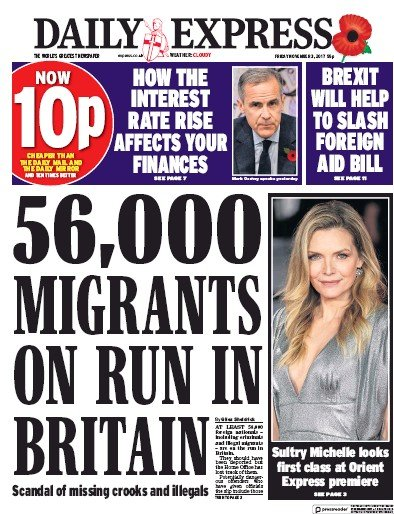 Daily Express Newspaper Front Page (UK) for 3 November 2017