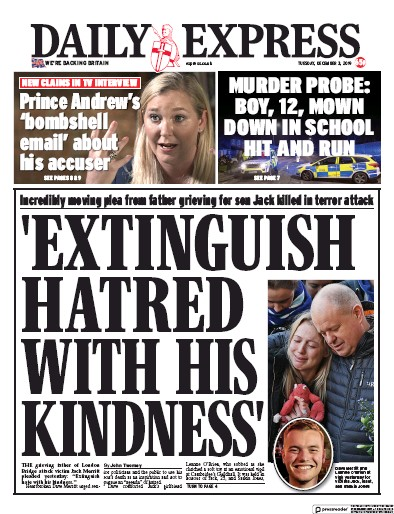 Daily Express Newspaper Front Page (UK) for 3 December 2019