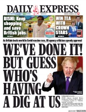 Daily Express front page for 3 December 2020