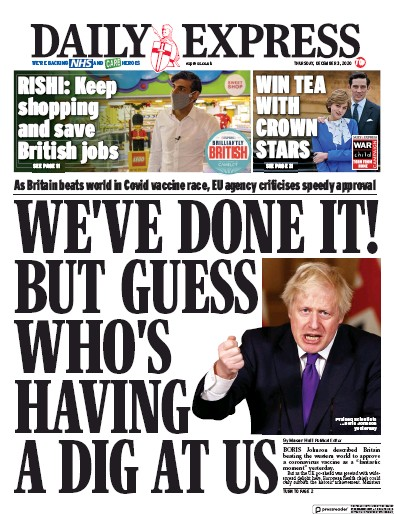 Daily Express Newspaper Front Page (UK) for 3 December 2020