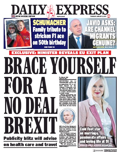 Daily Express Newspaper Front Page (UK) for 3 January 2019