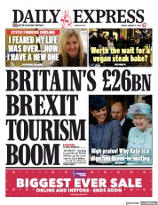Daily Express (UK) Newspaper Front Page for 3 January 2020