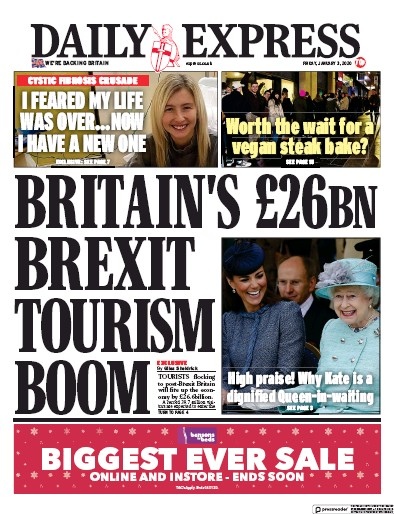 Daily Express Newspaper Front Page (UK) for 3 January 2020