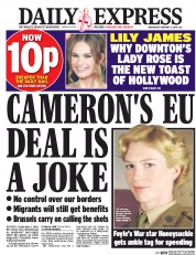Daily Express () Newspaper Front Page for 3 February 2016