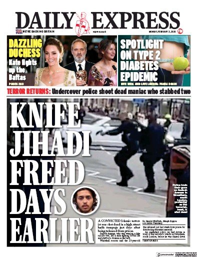 Daily Express Newspaper Front Page (UK) for 3 February 2020
