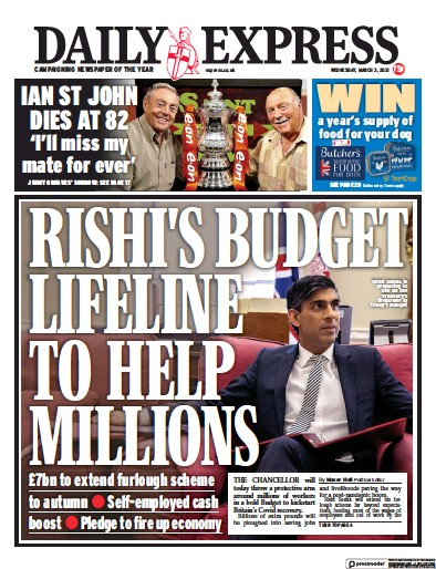 Daily Express Newspaper Front Page (UK) for 3 March 2021