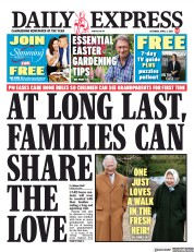 Daily Express front page for 3 April 2021