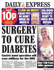 Daily Express () Newspaper Front Page for 3 June 2016