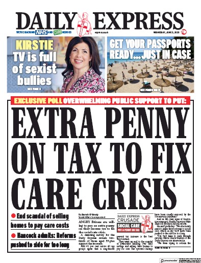 Daily Express Newspaper Front Page (UK) for 3 June 2020
