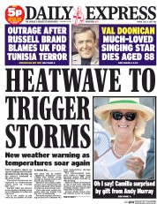 Daily Express (UK) Newspaper Front Page for 3 July 2015