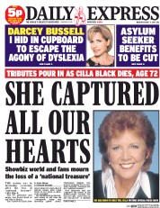Daily Express (UK) Newspaper Front Page for 3 August 2015