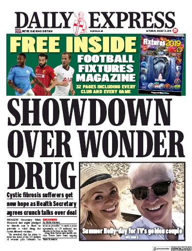 Daily Express Newspaper Front Page (UK) for 3 August 2019