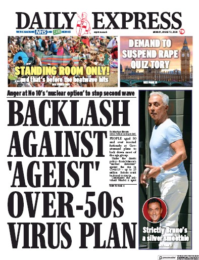 Daily Express Newspaper Front Page (UK) for 3 August 2020