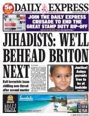 Daily Express (UK) Newspaper Front Page for 3 September 2014