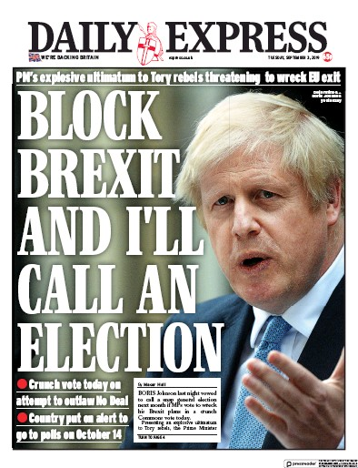 Daily Express Newspaper Front Page (UK) for 3 September 2019