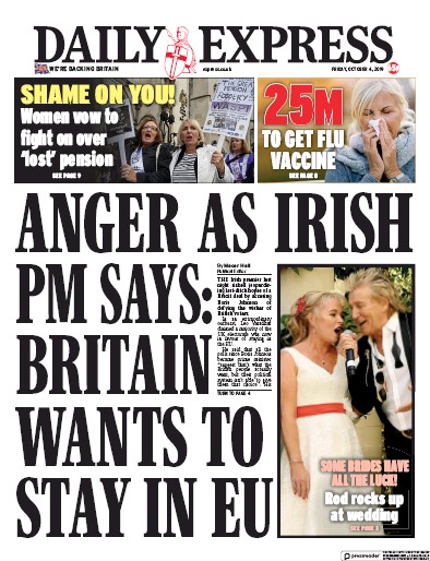 Daily Express Newspaper Front Page (UK) for 4 October 2019
