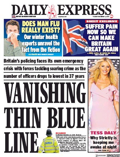 Daily Express Newspaper Front Page (UK) for 4 December 2018
