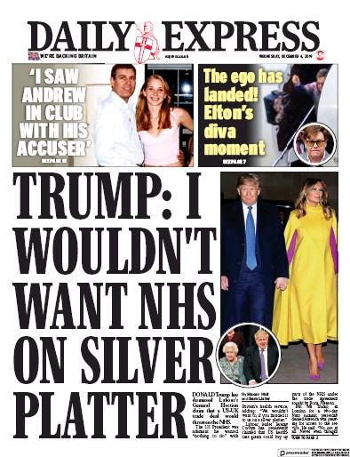 Daily Express Newspaper Front Page (UK) for 4 December 2019