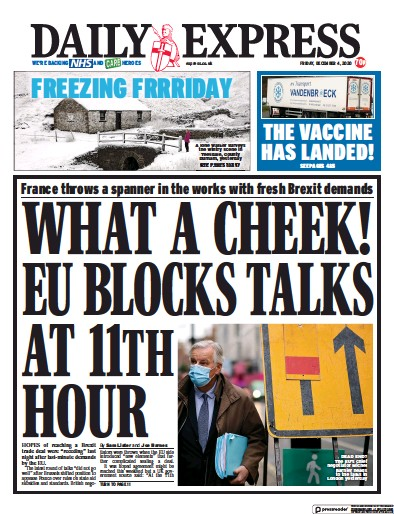 Daily Express Newspaper Front Page (UK) for 4 December 2020