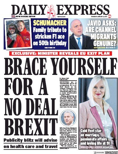 Daily Express Newspaper Front Page (UK) for 4 January 2019
