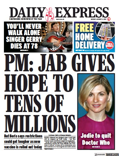 Daily Express Newspaper Front Page (UK) for 4 January 2021