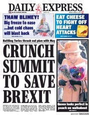 Daily Express (UK) Newspaper Front Page for 4 February 2019
