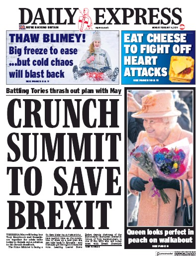 Daily Express Newspaper Front Page (UK) for 4 February 2019
