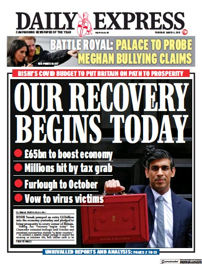 Daily Express Newspaper Front Page (UK) for 4 March 2021