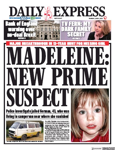 Daily Express Newspaper Front Page (UK) for 4 June 2020