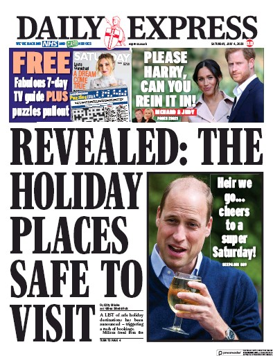 Daily Express Newspaper Front Page (UK) for 4 July 2020