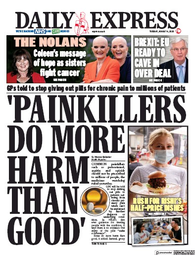 Daily Express Newspaper Front Page (UK) for 4 August 2020