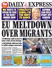 Daily Express (UK) Newspaper Front Page for 4 September 2015