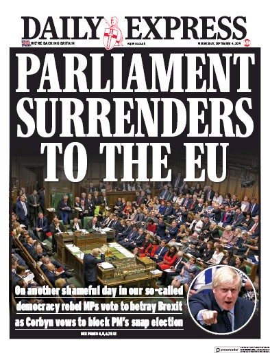 Daily Express Newspaper Front Page (UK) for 4 September 2019