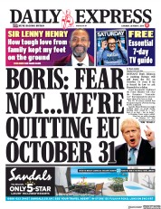 Daily Express (UK) Newspaper Front Page for 5 October 2019