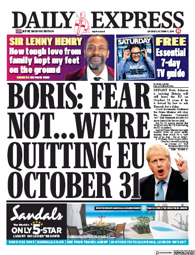 Daily Express Newspaper Front Page (UK) for 5 October 2019