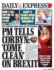 Daily Express (UK) Newspaper Front Page for 5 November 2019