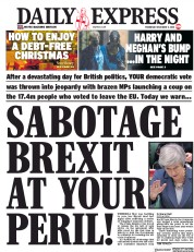 Daily Express (UK) Newspaper Front Page for 5 December 2018