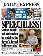 Daily Express (UK) Newspaper Front Page for 5 December 2019