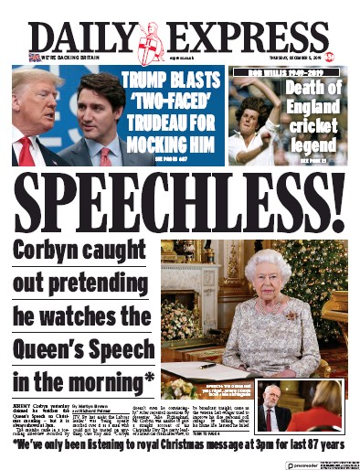 Daily Express Newspaper Front Page (UK) for 5 December 2019
