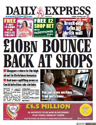 Daily Express Newspaper Front Page (UK) for 5 December 2020