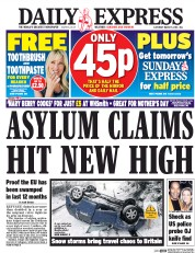 Daily Express (UK) Newspaper Front Page for 5 March 2016