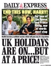 Daily Express front page for 5 March 2021