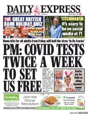 Daily Express (UK) Newspaper Front Page for 5 April 2021