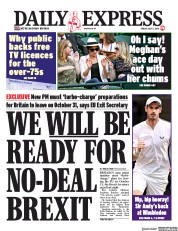 Daily Express (UK) Newspaper Front Page for 5 July 2019