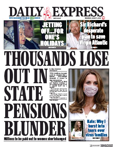 Daily Express Newspaper Front Page (UK) for 5 August 2020