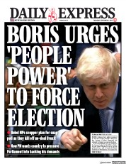 Daily Express (UK) Newspaper Front Page for 5 September 2019