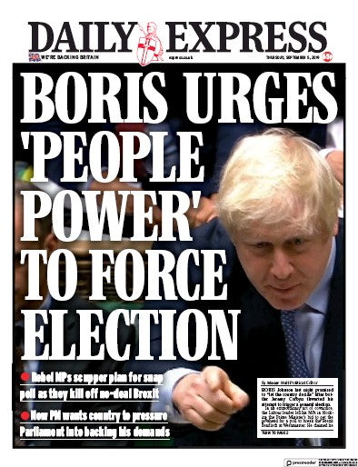 Daily Express Newspaper Front Page (UK) for 5 September 2019